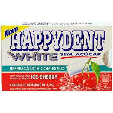 Goma De Mascar Happydent White Ice Cherry Com 10 Unidades