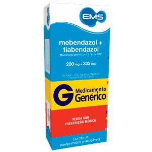 Mebendazol + Tiabendazol 200 + 332 Mg 6 Cprs