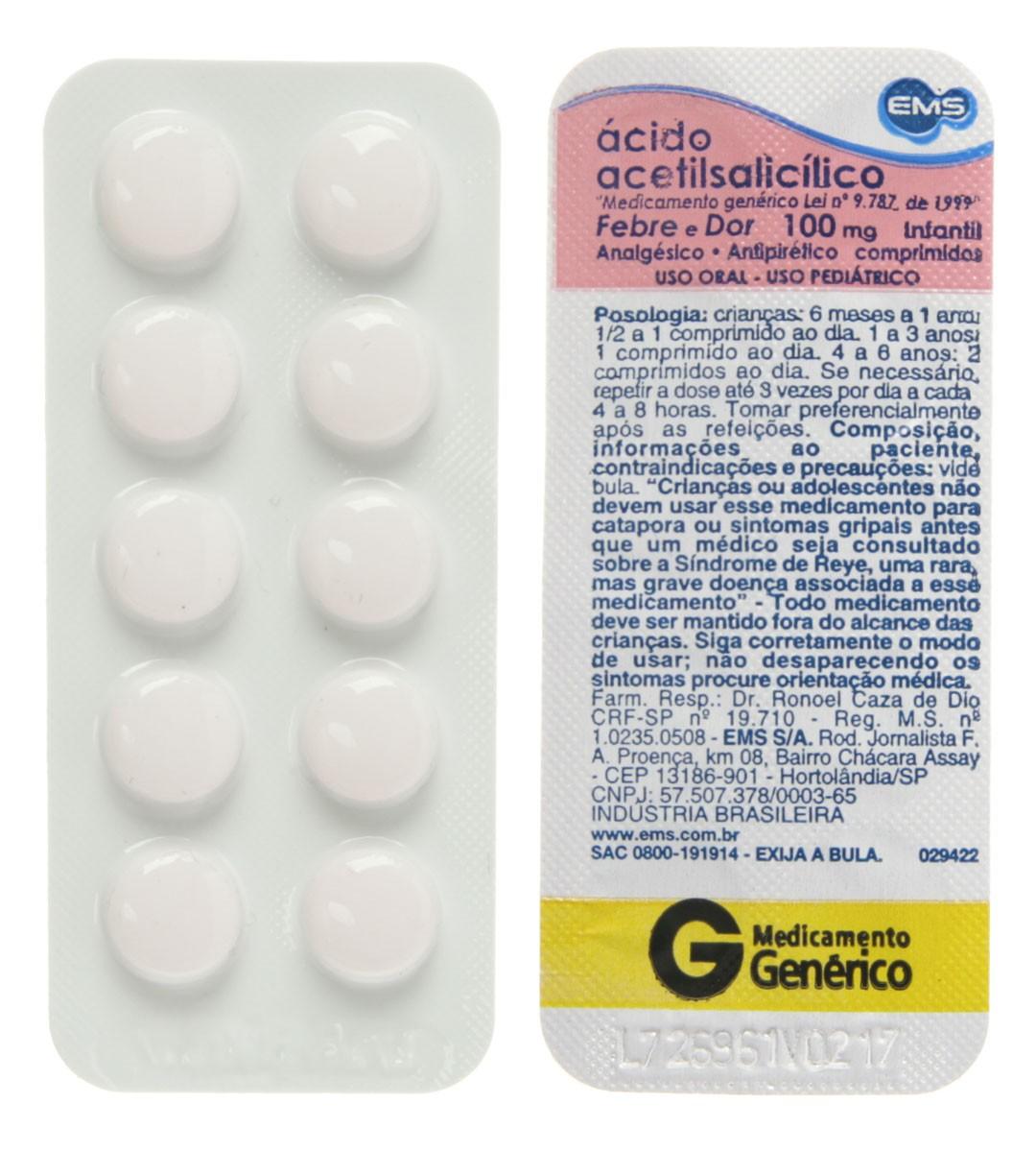 Acido Acetilsalicilico 100mg Ems Generico 1 Blister Com 10 Comprimidos