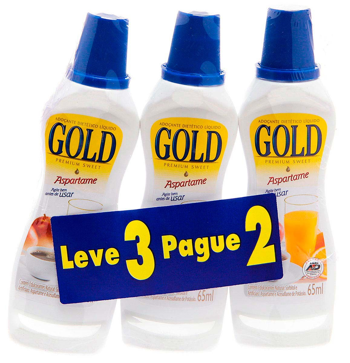 Gold Adocante Aspartame Com 65 Ml Kit Promocional Leve 3 Unidades Pague 2