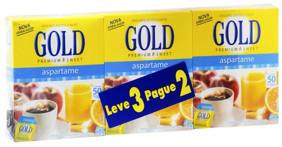 Gold Adocante Po Aspartame 50 Envelopes Kit Promocional Leve 3 Unidades Pague 2