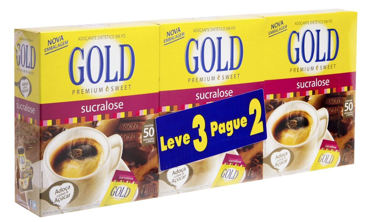 Gold Adocante Sucralose Em Po Com 50 Unidades Leve 3 Pague 2