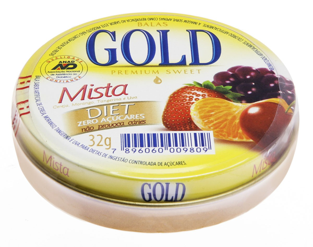 Gold Bala Sabor Mista Sem Acucar Com 32g