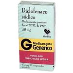 Diclofenaco De Sodio 50 Mg 20 Cprs