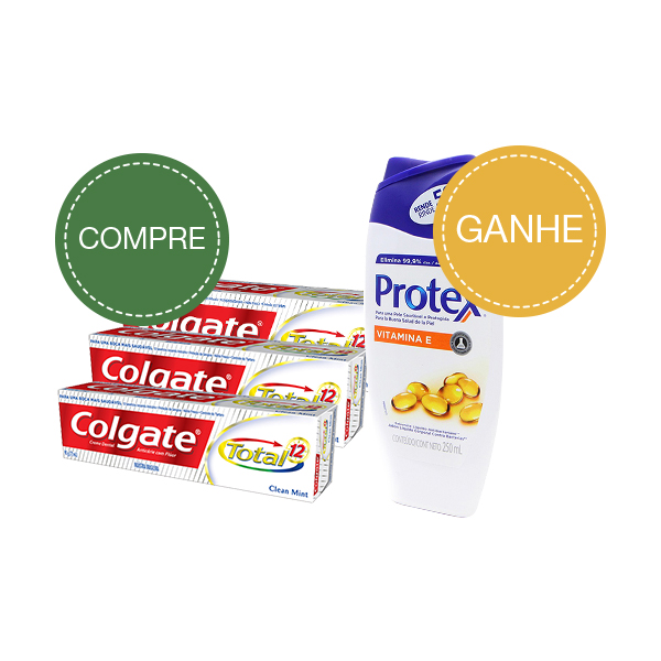 Colgate Creme Dental Total 12 Clean Mint 90g Com 3 Unidades Gratis 1 Sabonete Liq Protex 250ml